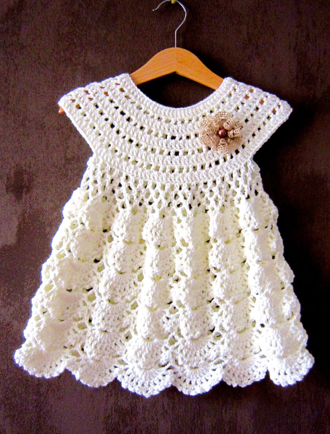Beautiful crochet dresses for kids trendy - Baby Dress Crochet Flower Girl Outfit Crochet Dress For Girls Baby Crochet Hat Baptism Dress Christening Outfit Champagne Dress