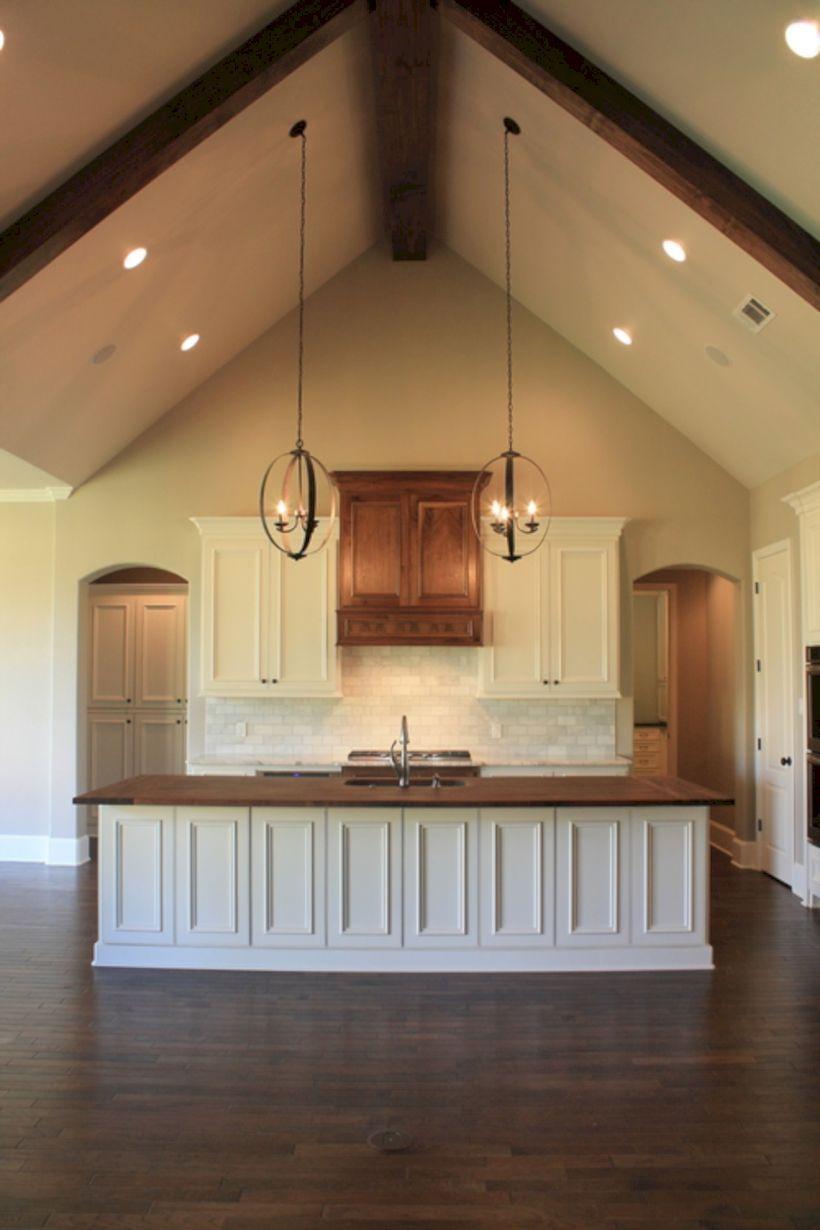 50 Pretty Kitchen Ceiling Lighting Design Ideas Http Kemiridecor Com 50 Pretty Kitchen Ceiling Lighting Design Id Vaulted Ceiling Lighting Home House Design