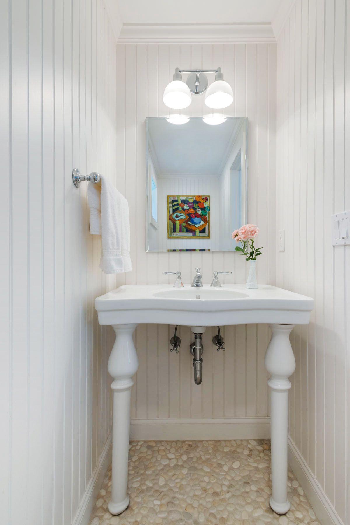 Beautiful White Montauk Powder room West Lake Drive