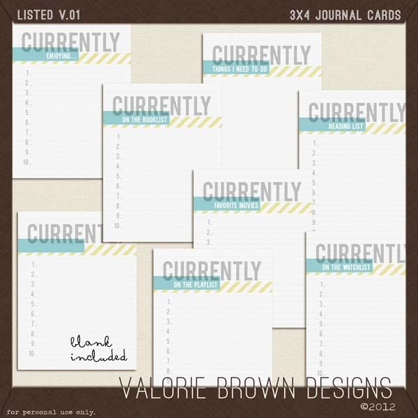 "Free set of ""currently"" journal cards."