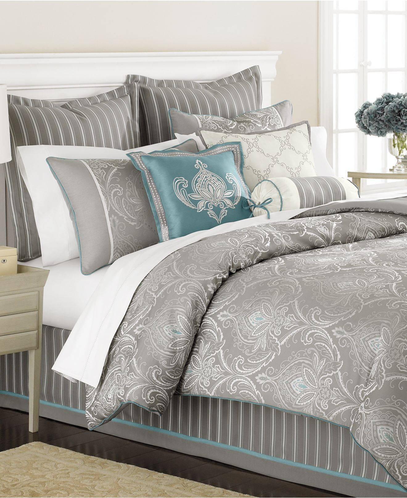 Martha stewart collection bedding briercrest 9 piece comforter set king bed master bedroom Queen size bed and mattress set