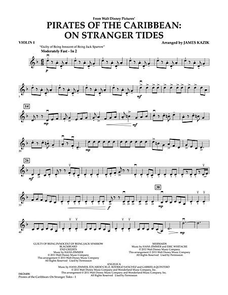 Pirates Of The Caribbean On Stranger Tides Violin 1 With