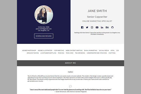 You\u0027re Hired WordPress Resume Theme Web themes, Wordpress and - wordpress resume theme