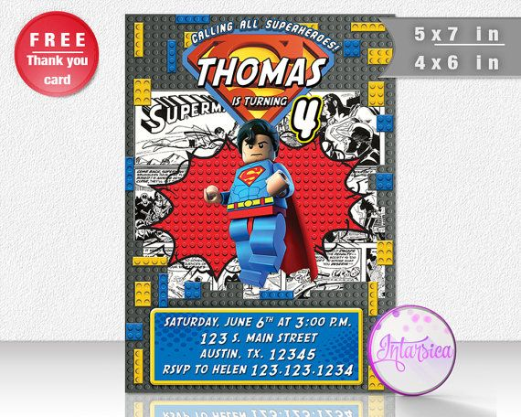Superman Lego Personalized Printable Party Invitation and | Lego DC ...