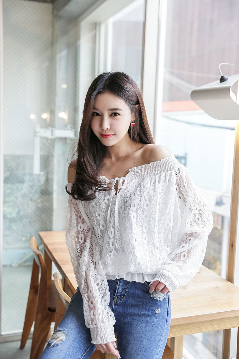 df5e4e5f3757 Off-Shoulder See-Thru Blouse | Best Korean Fashion | Fashion, Korean ...