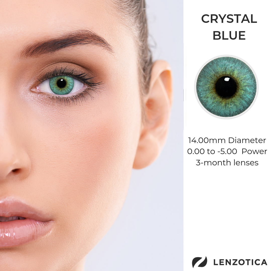 Crystal Blue Contact Lenses Colored Dark Brown Eyes Crystals