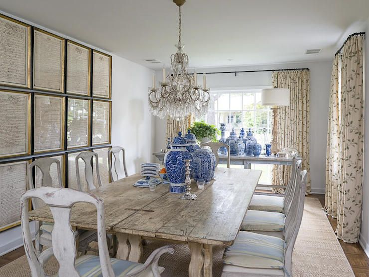 Attractive Lisa Luby Ryan   Dining Rooms   Leaf Print Drapes, Ivory Botanical Print  Drapes, Shabby Chic Dining Table, White And Blue China Collection, . Good Looking