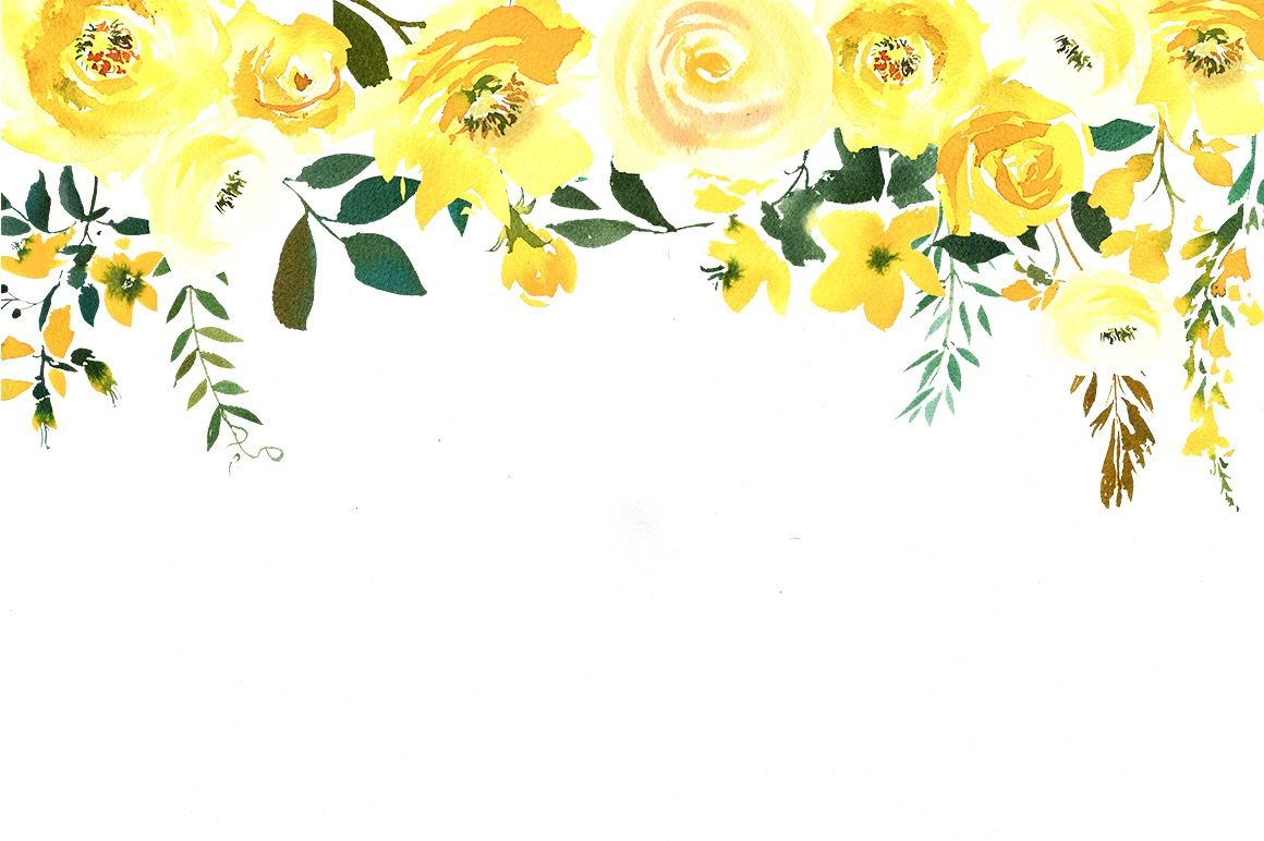 Flower Border Yellow Watercolor Flower Background Watercolor