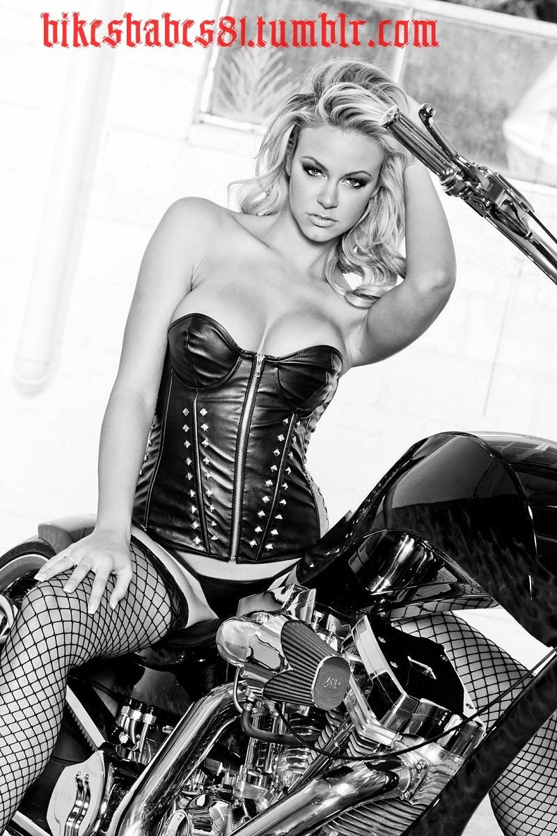 Blonde Biker Babe Leather Lingerie Mounted On A Chopper Happy Days Imo