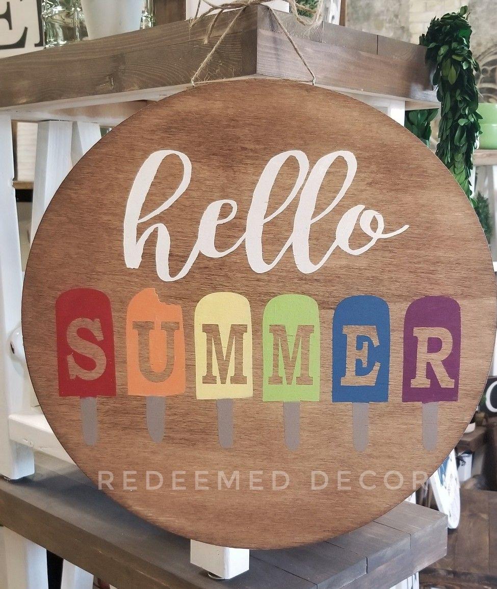 Diy Stencil Hello Summer Popsicle Round Wood Sign Summer Door Hanger Round Wood Sign Door Hangers