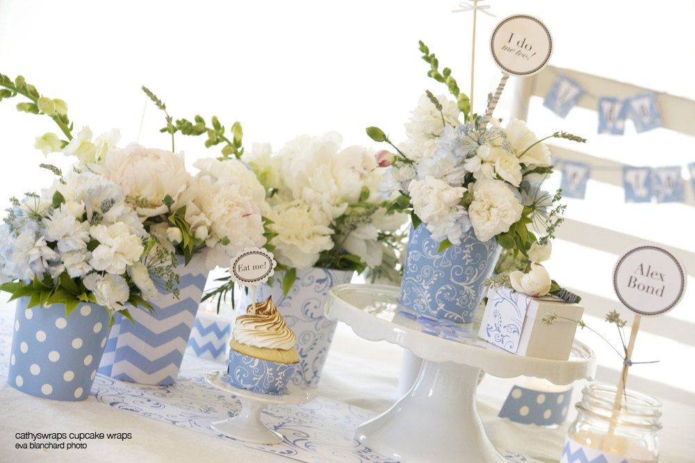 6 Serenity Blue VASES for Tea Party