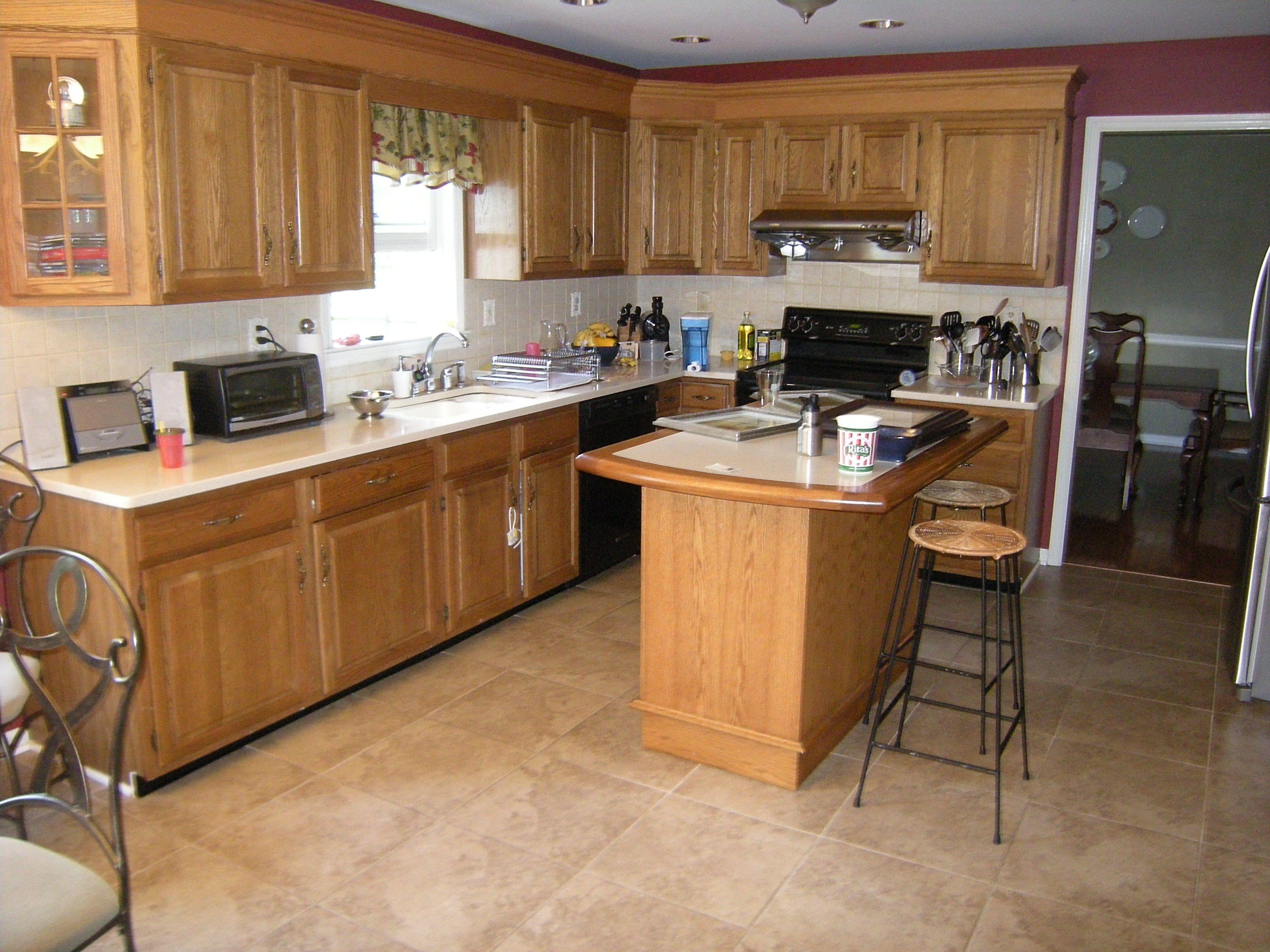 kitchen floor tile ideas with oak cabinets  kitchen