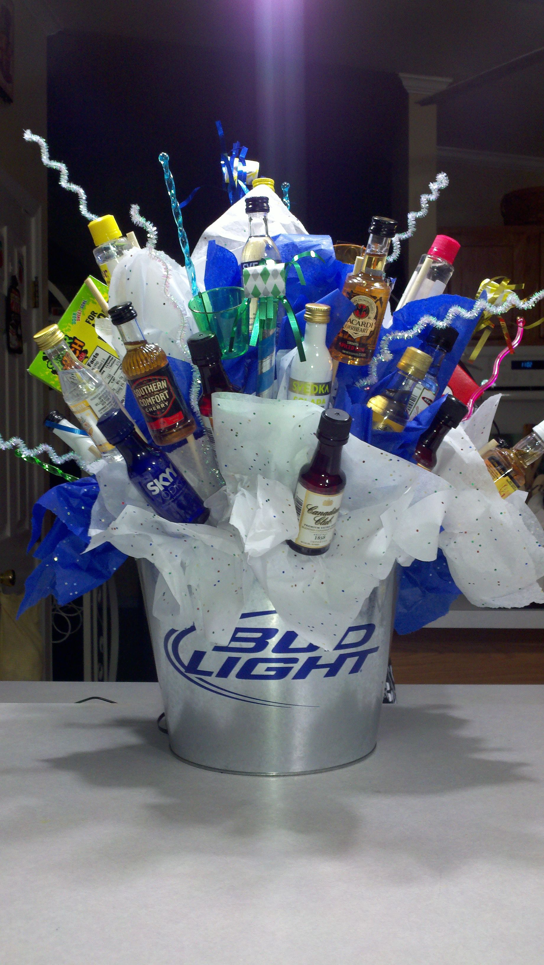 Shot Bottle Bouquet I Made For My Sons 21st Birthday