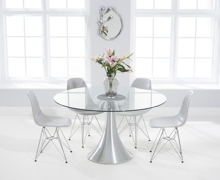 Paloma 135cm Round Glass Dining Table With Charles Eames Style Dsr