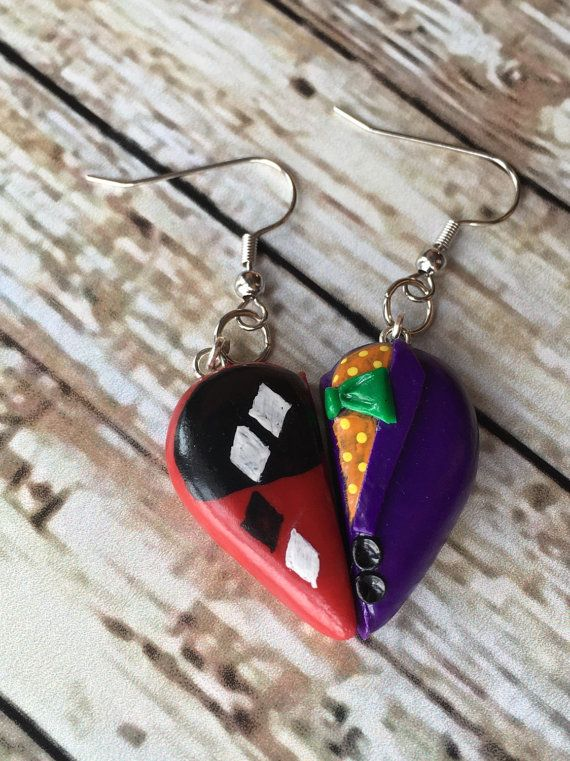 The Joker and Harley Quinn Inspired Heart Pendant by InkoftheSoul