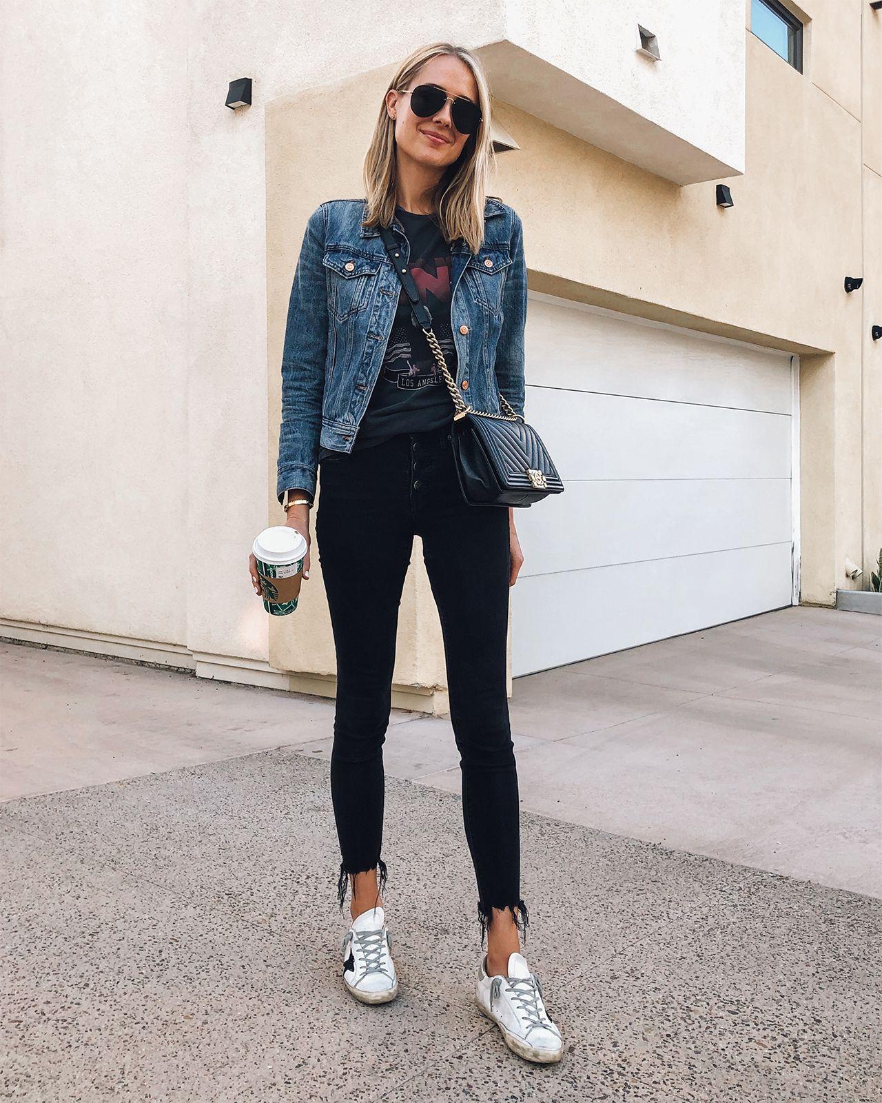 00228cad209 Fashion Jackson Wearing Denim Jacket Anine Bing Vintage Tshirt Madewell  Ripped Jeans Golden Goose Sneakers Chanel Boy Bag