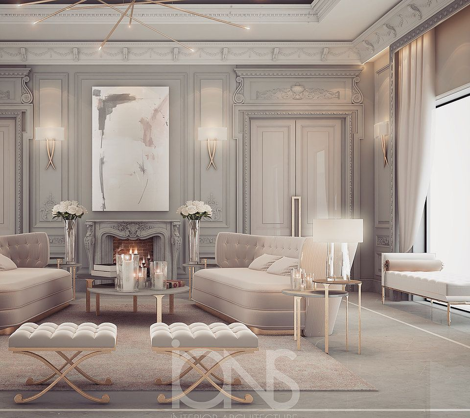 Lounge Room Design In Refined Transitional Style: Interior Design Package Includes Majlis Designs, Dining