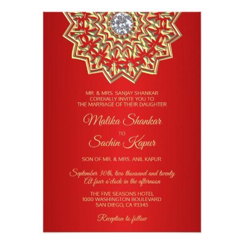 ruby red mandala gold indian wedding invitations my favorite
