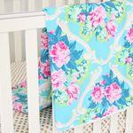 Riley's Rose Pink & Aqua Baby Blanket