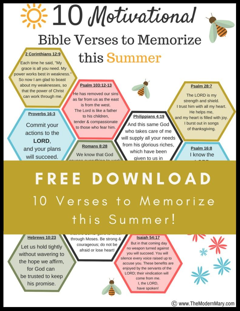 Free download--10 motivational Bible verses to memorize this summer