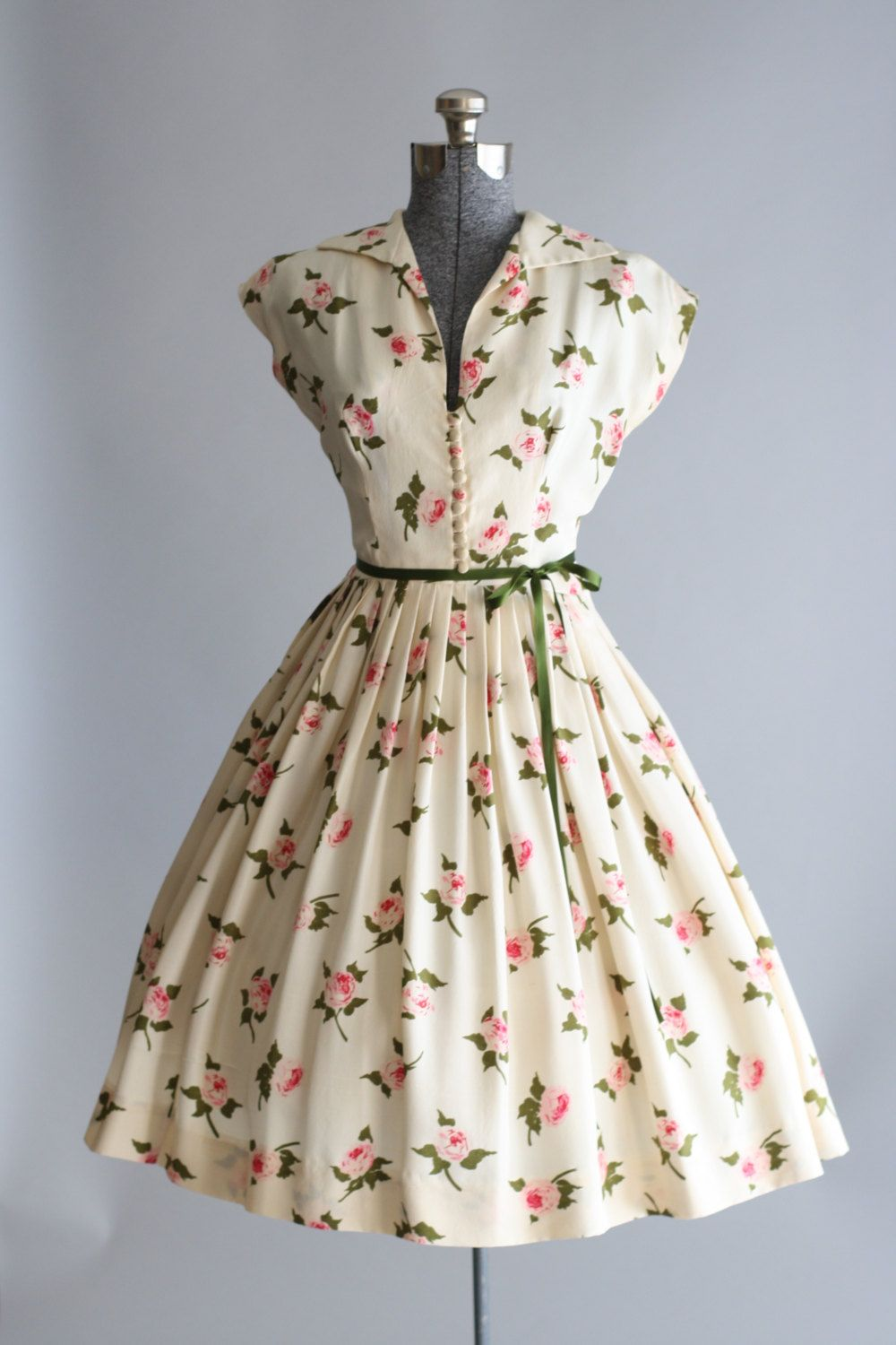Vintage 1950s Dress / 50s Silk Dress / Cream Rose Print ...