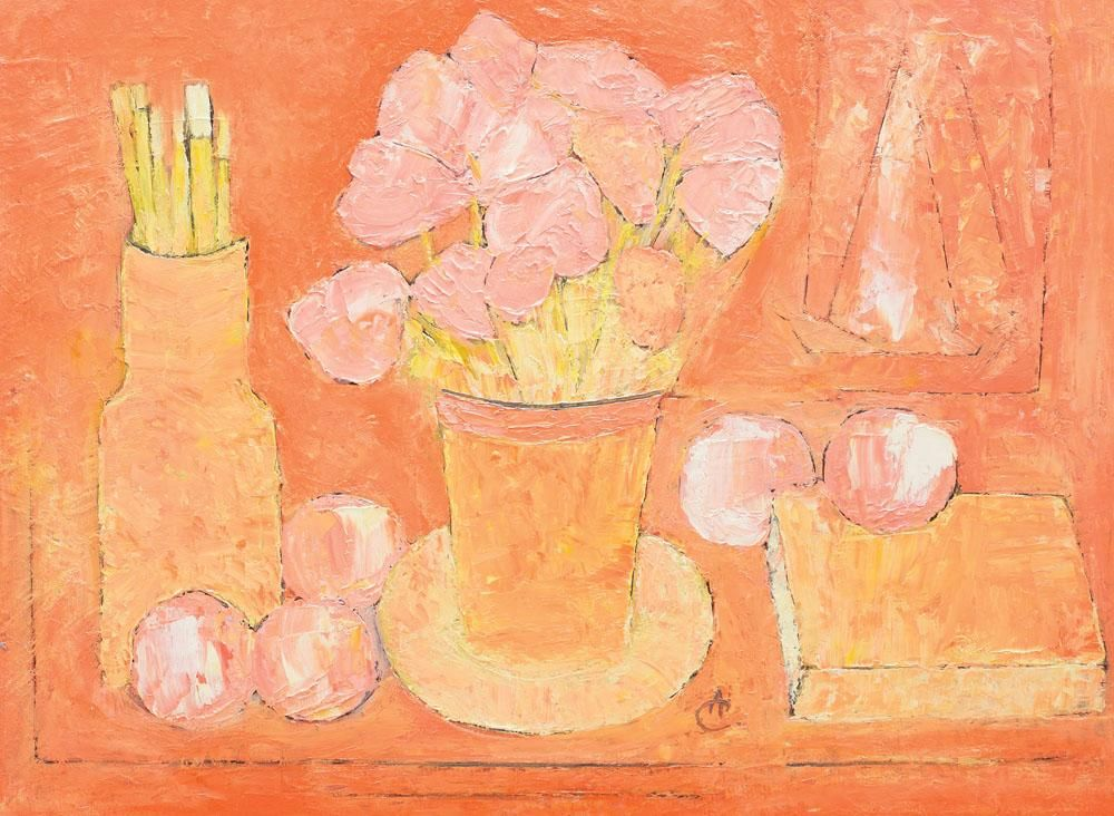 Still Life with Flowers and Brushes---Alexandru Ciucurencu
