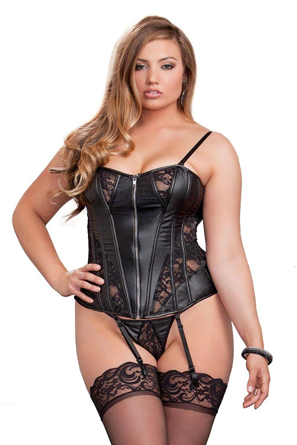 6cafb87210 Plus Size Faux Leather and Lace Corset Lingerie -- Special product just for  you. See it now!   Plus size lingerie