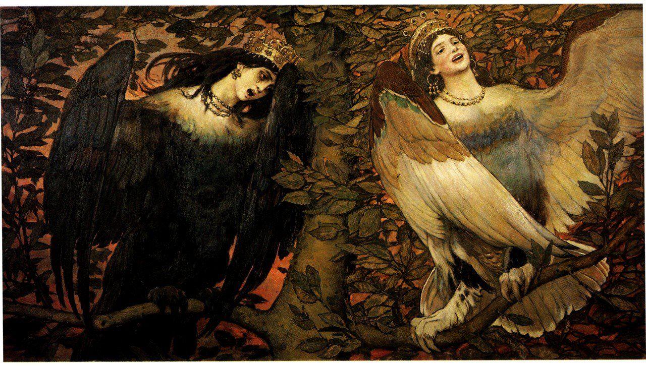 Viktor Vasnetsov Sirin And Alkonost 1896 Creature Mythologique Art Magique Oiseaux
