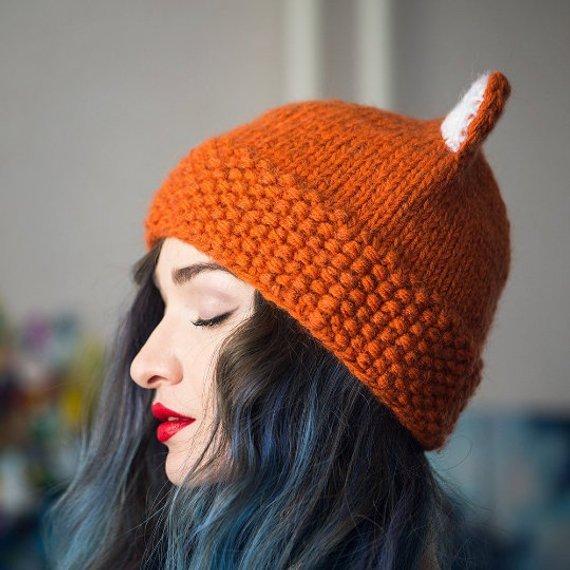 fab3731505e4a Pattern knitted fox hat cat hat Women s cat ears beanie knit cat ear Ski hat  Unisex animal cap winte