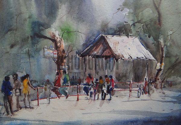 $149 USD. Original handmade watercolor of a crossing in Banaras Hindu University by Yashwant Maurya