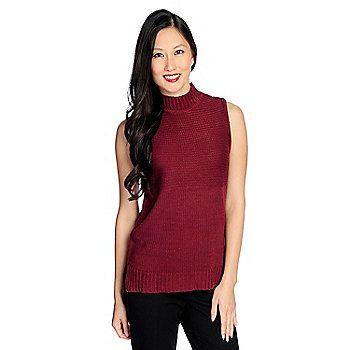 b3b43f5165716 WD.NY Sweater Knit Sleeveless Mock Turtleneck Side Slit Top on sale ...