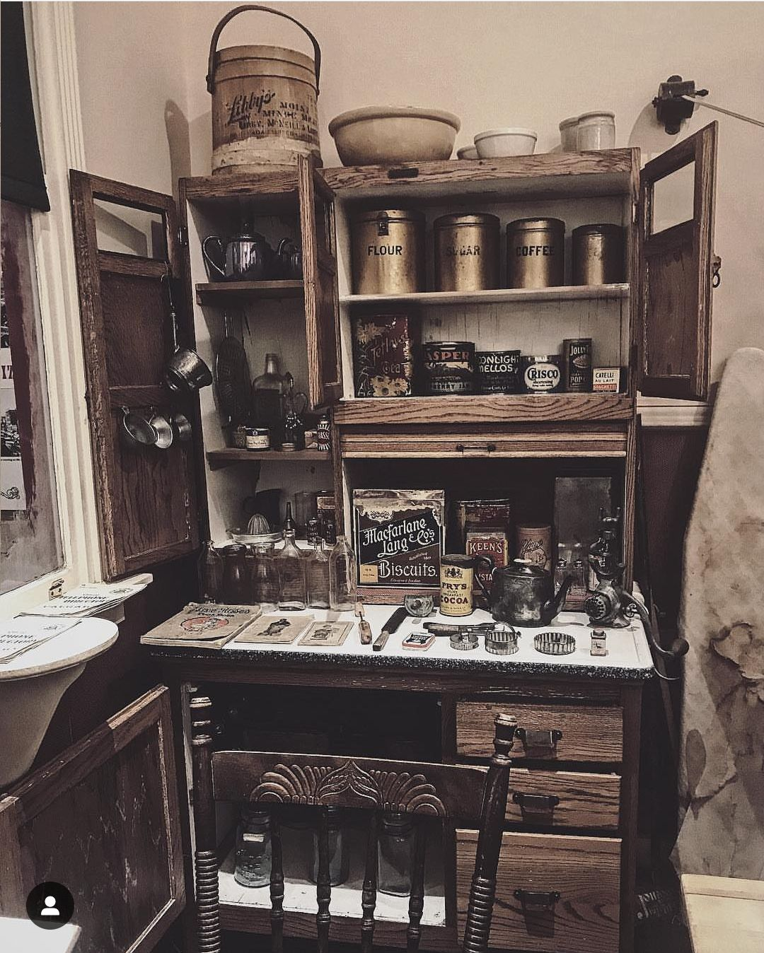 We Re In Love With This Moody Shot Of Autumn Zenith S Hoosier Stocked Full Of Vintage Canisters And Kitchen Gadgets Hoosier Cabinet Cabinet Vintage Canisters