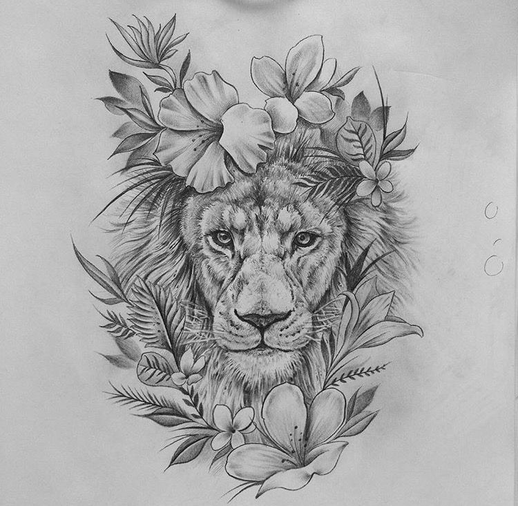 love the flower choices Lioness tattoo, Lion tattoo