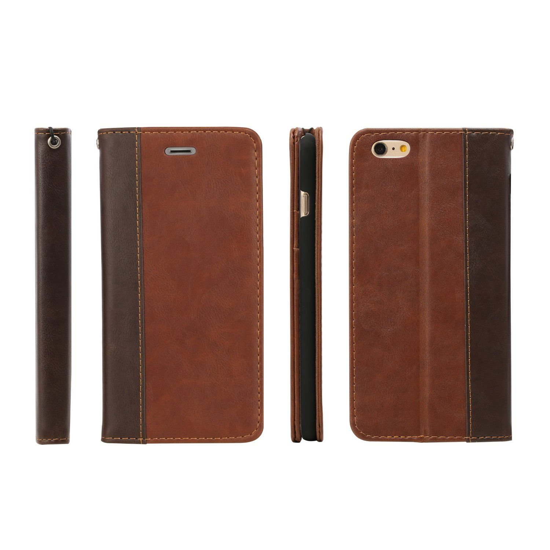 reputable site 1ec81 55c6e Amazon.com: TANNC Leather Case for iPhone 6 (4.7 inch), Flip Book ...
