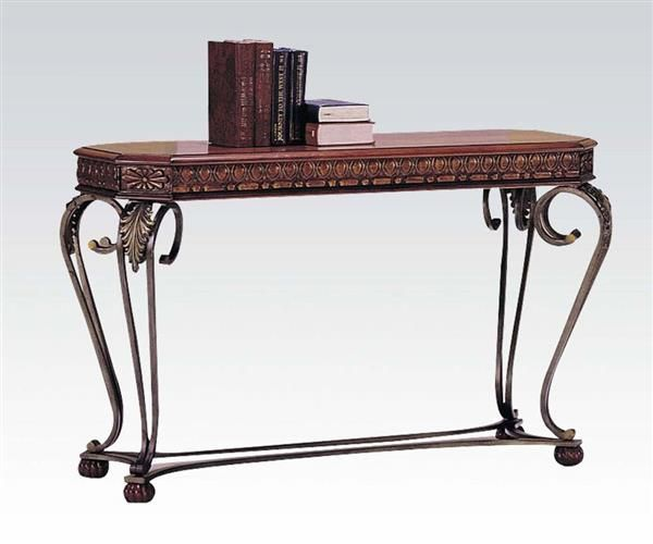 Carmel Cherry Wood Metal Wrought Iron Sofa Table Sofa Table