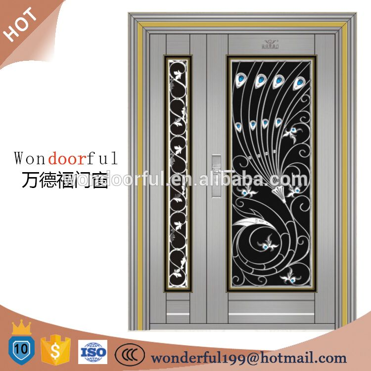304 Stainless Steel Entrance Door Design Main Gate Colors Window
