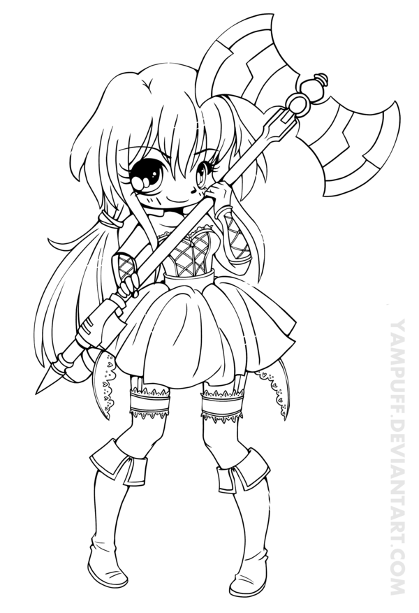 Vermillia Chibi Lineart Commission by YamPuff on