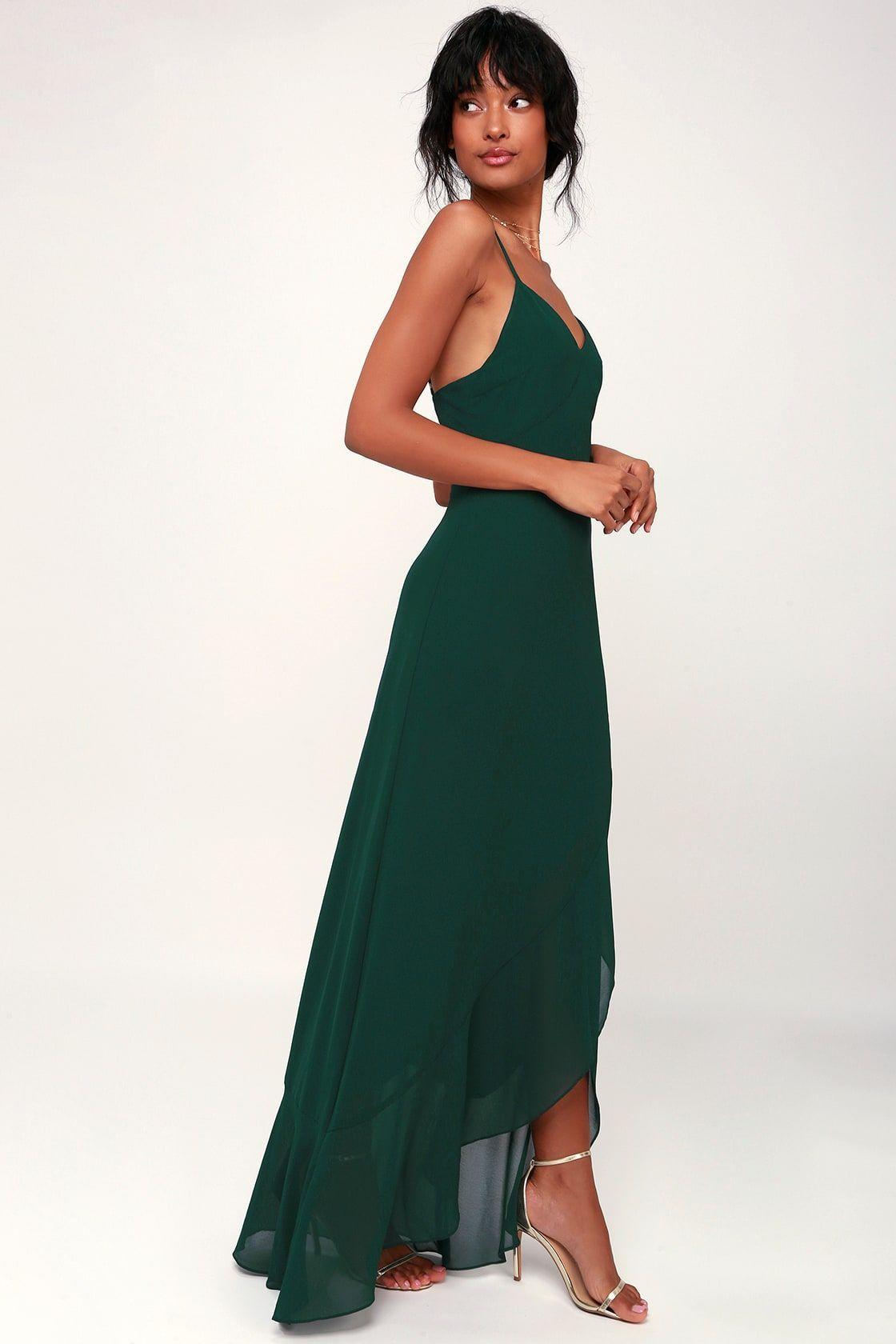 Ada forest green laceup maxi dress green chiffon dress