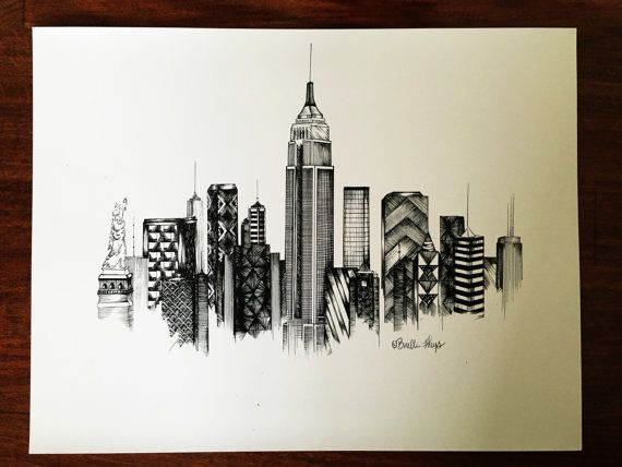 New York City Zentangle Print By Arrowinkdesigns On Etsy