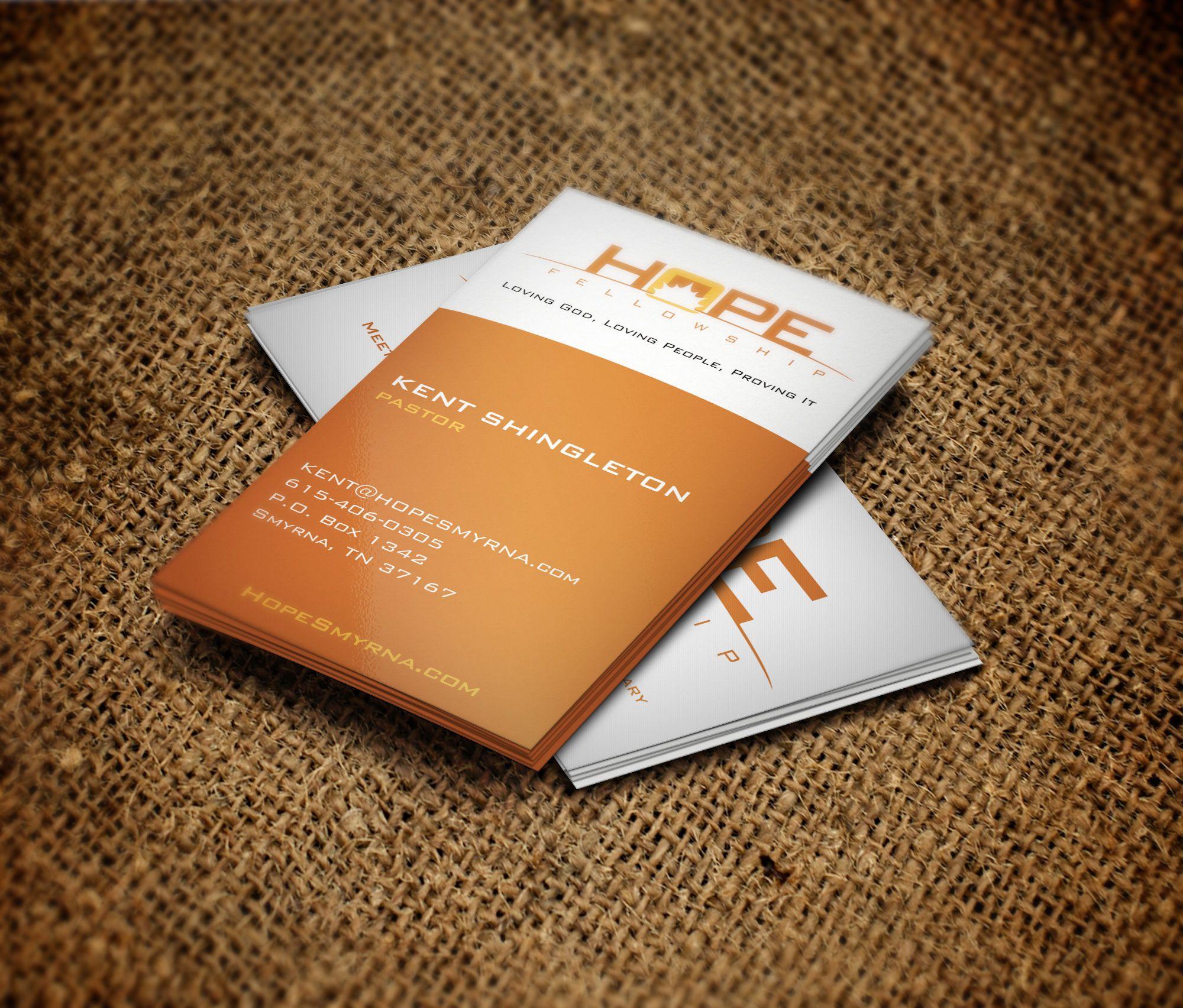 Business card design and printing for hope church in