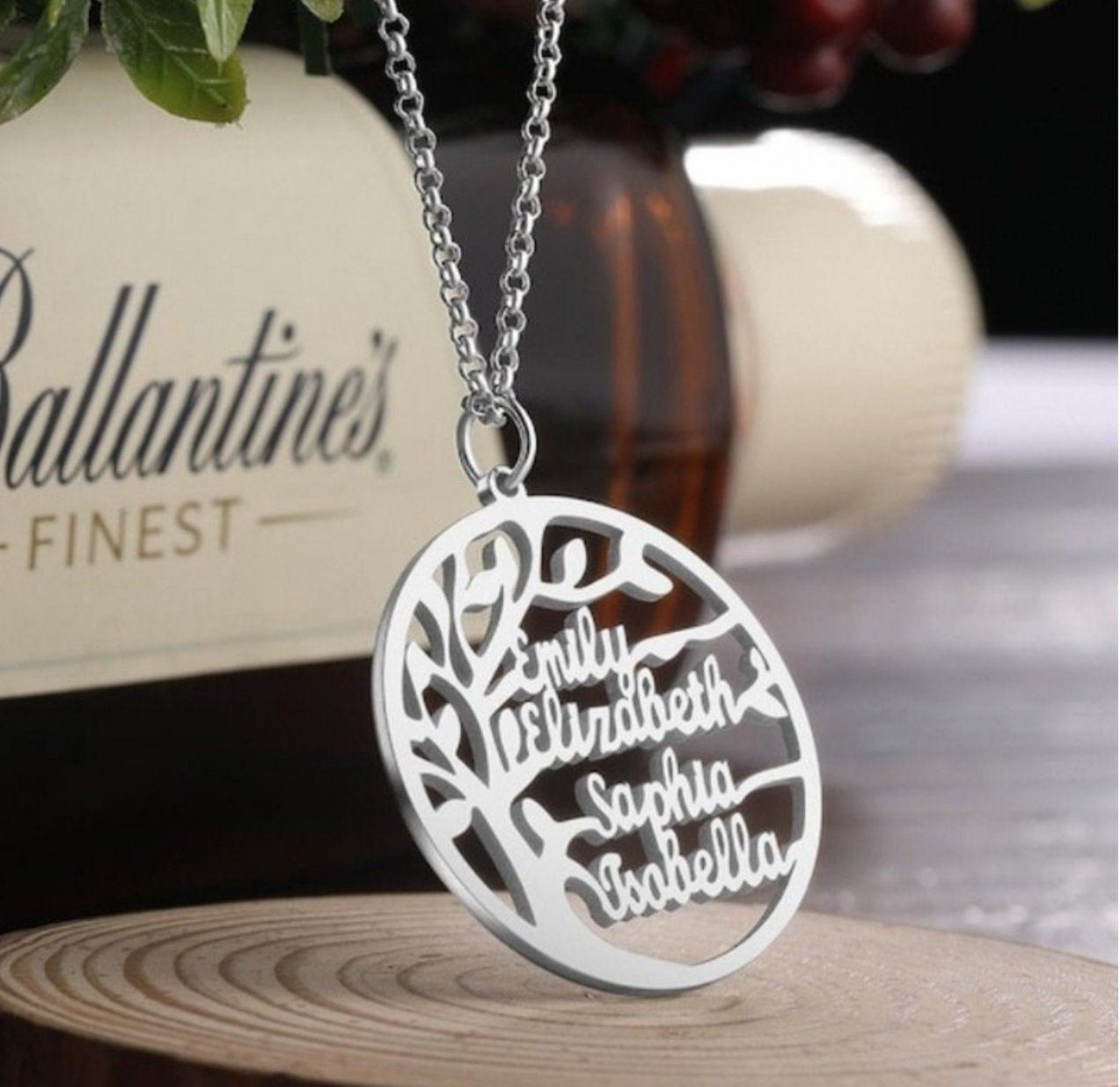 Double Initial Necklace Tree of Life Necklace Silver Necklace Silver Jewelry Gift for Her Personalized Gift Custom Jewelry