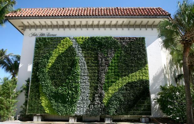 Gorgeous green wall adorns palm beach shopping center for Vertical green wall