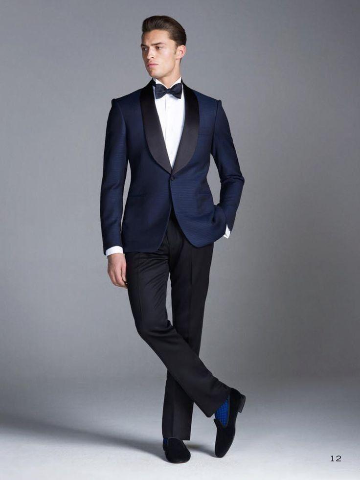 edd824b5d8 Custom made Midnight Blue Smoking Groom suits/Wedding Suits For Men ...