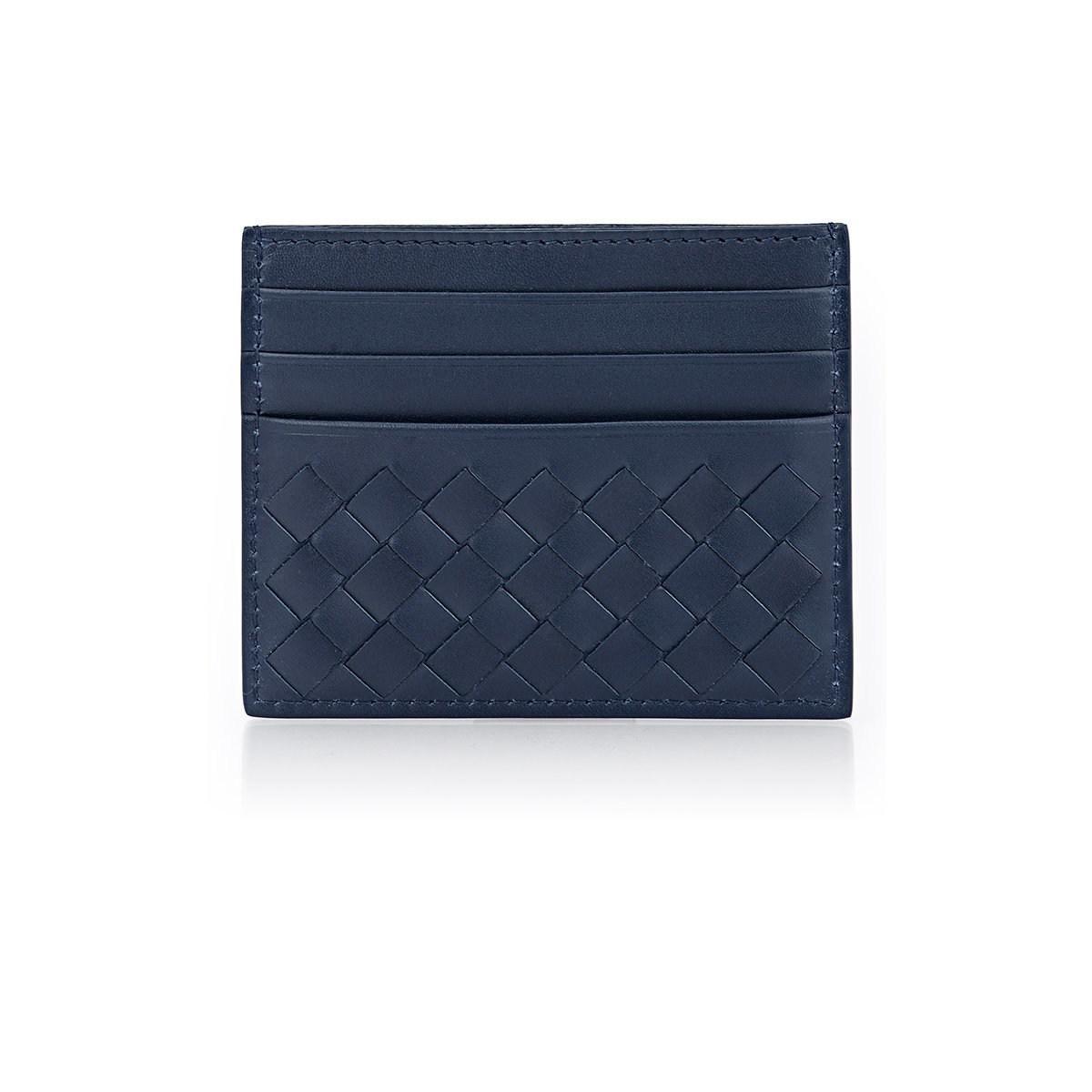 Bottega blue intrecciato card case for men with