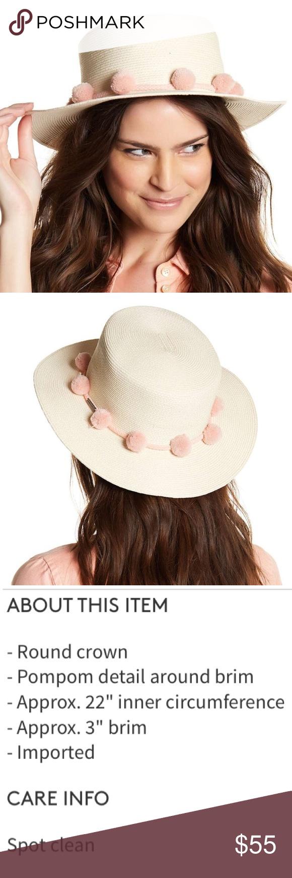 f8fa9b45ca4c54 bcbg // cream sun hat w/ pale pink pom-pom accents NWT BCBG round brim  cream sun hat with pale pink pom-pom accent around brim. Boho and on-trend.