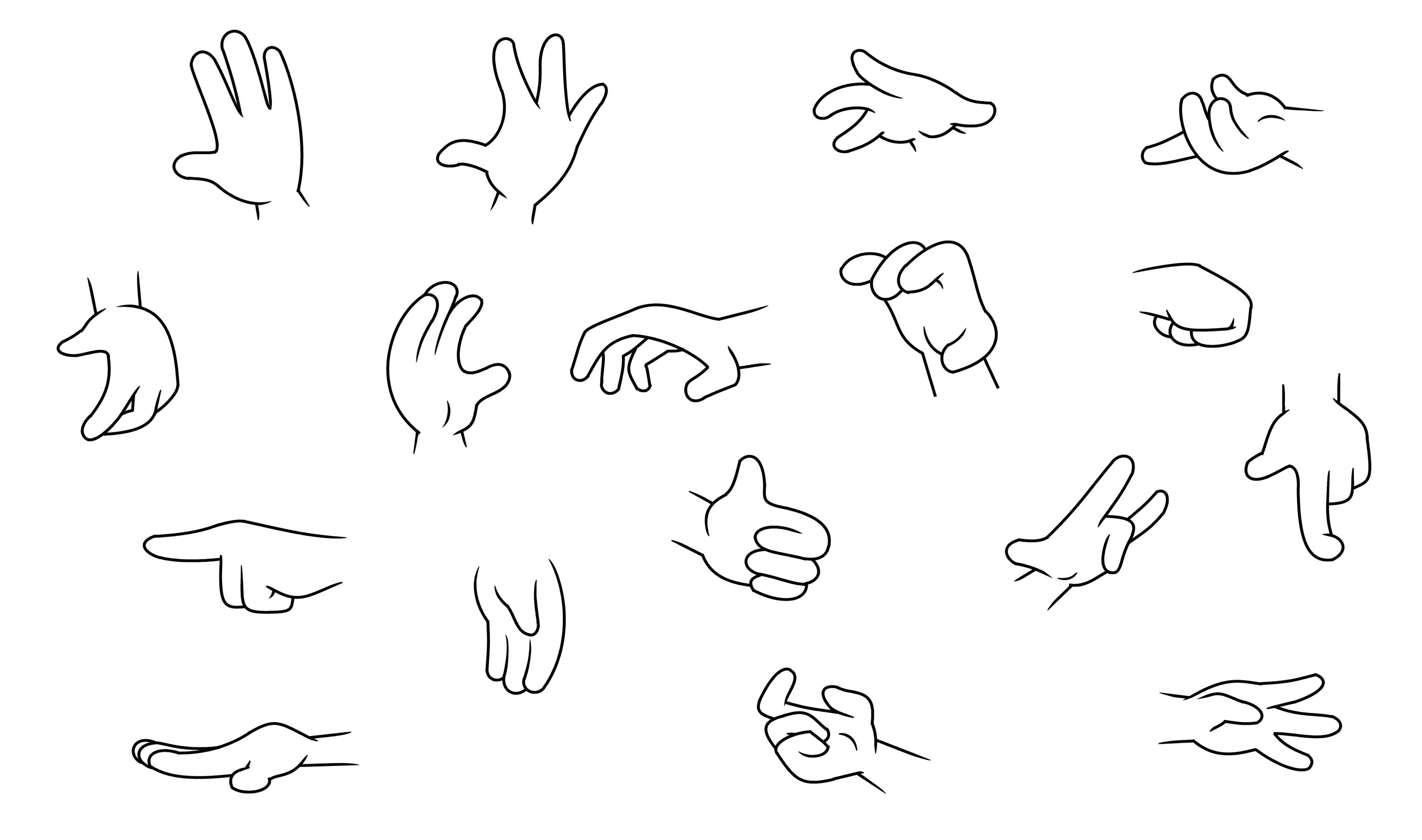 Four Finger Cartoon Hands