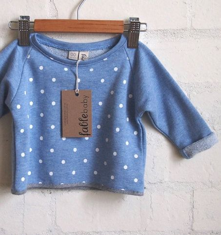 Handmade Unisex Cropped Spot Sweater - Blue & White