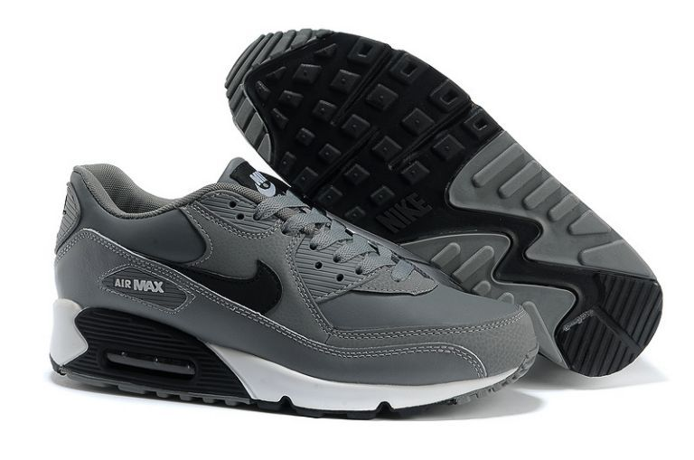 Commercialisable Nike Air Max 90 Essential Cuir Cool Gris Noir Blanc Homme