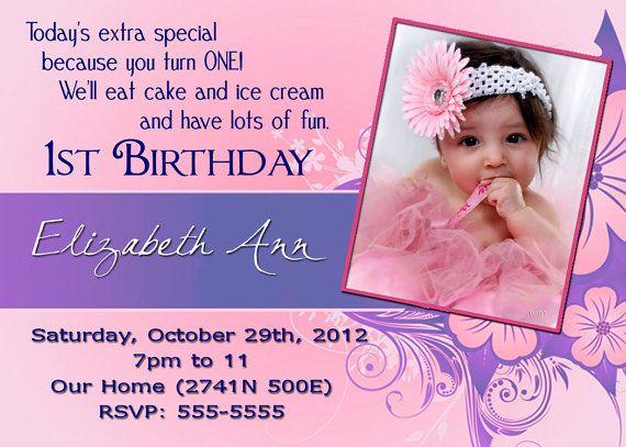 baby girls 1st birthday invitation by happelk on etsy 25 00