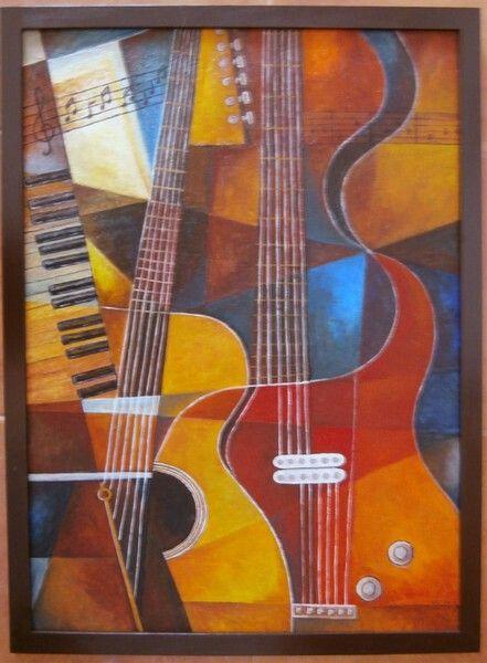 Pintura em tela cubismo figurativo